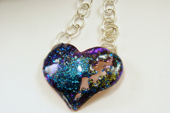 Inked Resin Puffed Broken Heart Pendant Necklace