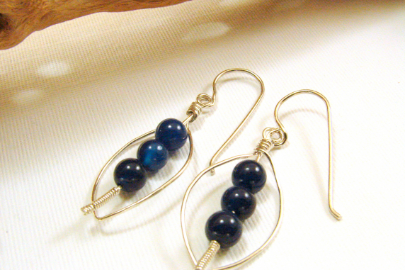 Sterling Silver and Dumortierite Earrings