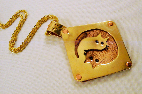Mixed Metal Ying and Yang Cats Pendant NecklaceMixed Metal Ying and Yang Cats Pe