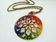 Rainbow Inked Hand Cut Fret Design Pendant Necklace