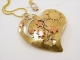 Mixed Metals Broken Mended Heart with Celestial Theme Necklace