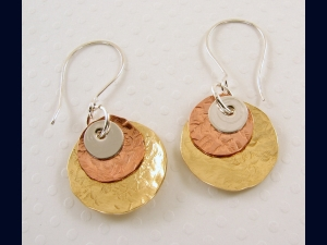Mixed Tri-Metal Disk Earrings (As seen on NBC Parenthood)