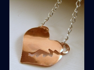 Brass or Copper Puffed Broken Heart Pendant with Chain