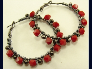 Gunmetal and Swarovski Red Coral Crystal Hoop Earrings