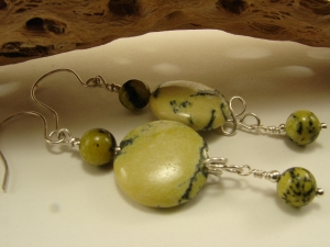 Yellow Turquoise and Sterling Silver Earrings