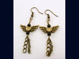 Antique Brass Angel Wing Earrings