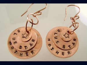 Copper Disk Hand Stamped Military Blue Star Mother Earrings