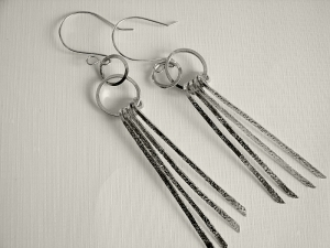 Sterling Silver Textured Long Strands Earrings