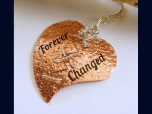 Copper and Sterling Silver Broken Mended Heart Pendant Necklace
