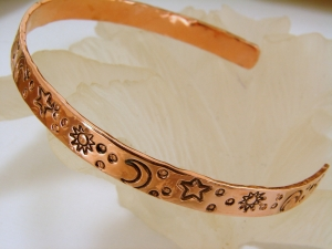 Copper Bracelet with Sun Moon and Stars
